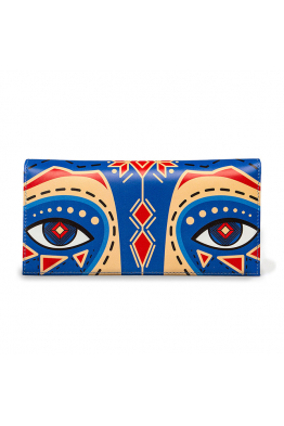 "Leather wallet ""Cornflower raccoon"""