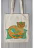 "Eco bag  ""Emerald Cat-Whale"""