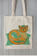 Eco bag  with cat and whale print