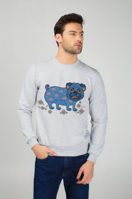 "Men's sweatshirt ""Apricot Pug"""
