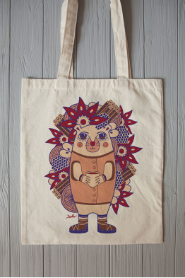 "Eco bag  ""The hedgehog Ghluti"""