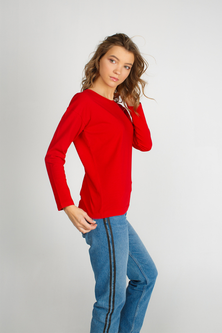 Cotton women red long sleeve