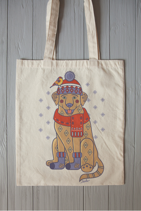 Eco bag with christmas labrador