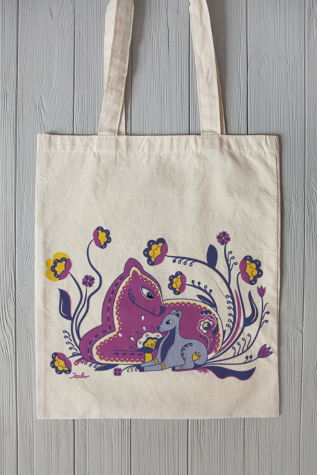 Eco bag with deer with mom