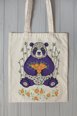 Eco bag with panda print
