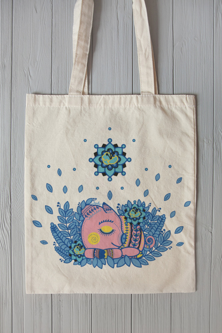 Eco bag with pig print