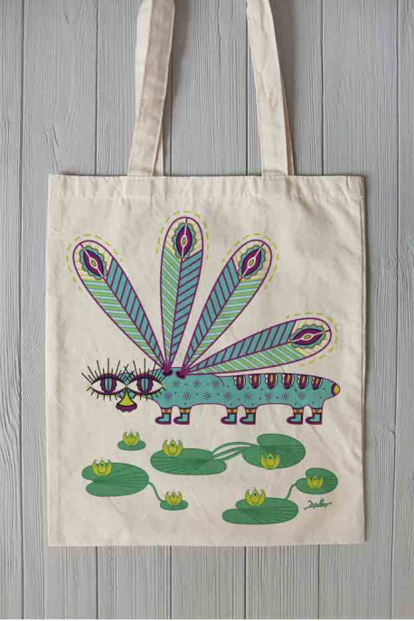 Eco bag with dragonfly print