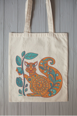 "Eco bag  ""The squirrel and the oak leaf"""