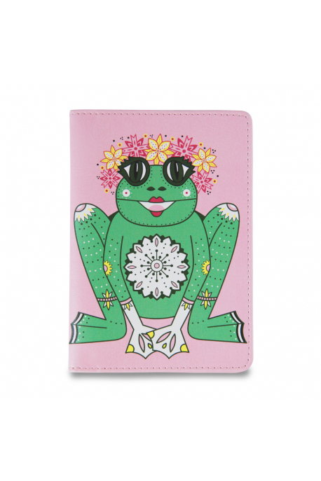 Eco-leather passport cover with frog