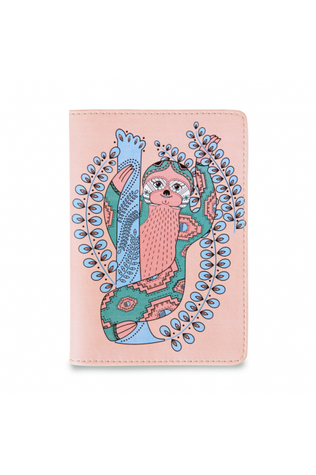 Eco-leather passport cover with sloth