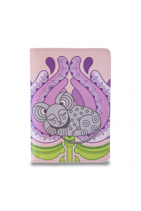 Eco-leather passport cover with mouse