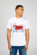 White men's t-shirt with cow print