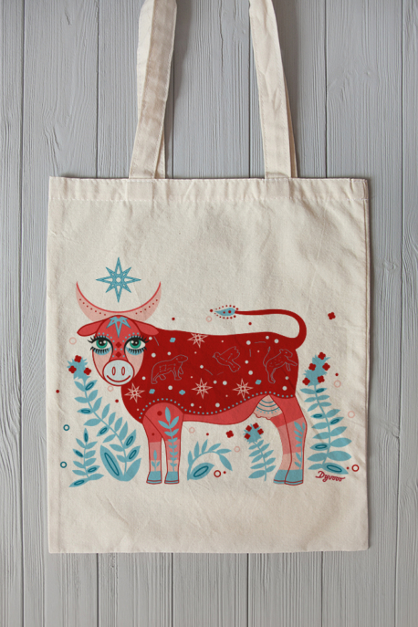 Eco bag with cow