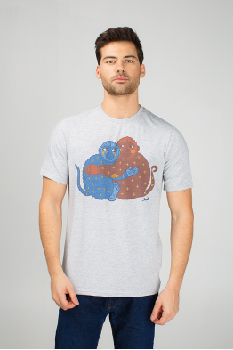 Grey Men's T-Shirt with Monkeys
