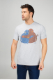 Grey Men's T-Shirt with Lovely Monkeys