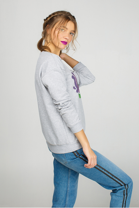Grey cotton women's sweatshirt with mouse