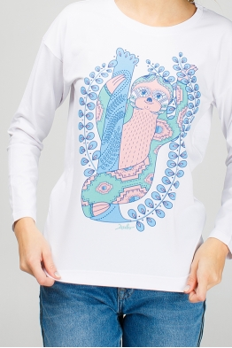 White women long sleeve with sloth