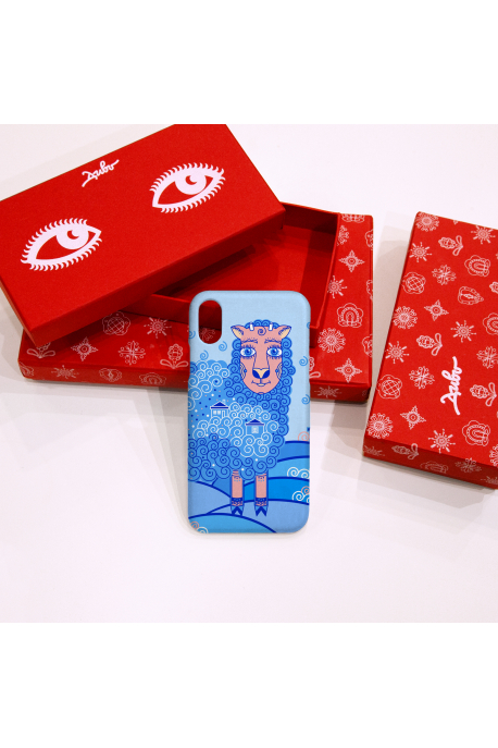 Phone case with blue sheep