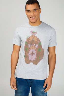Grey men's t-shirt with beavers