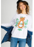 White women's sweatshirt with a teddy bear