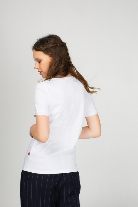 White women's t-shirt with a mouse