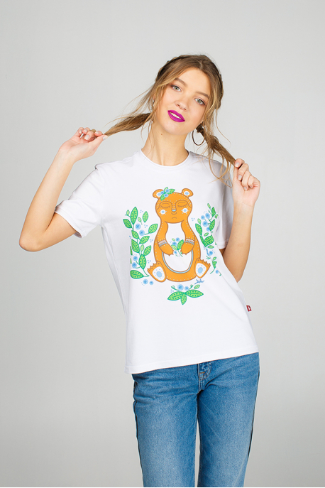 White women's t-shirt with Teddy Bear