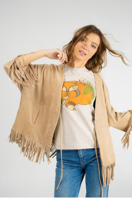 Beige t-shirt for women with a foxy
