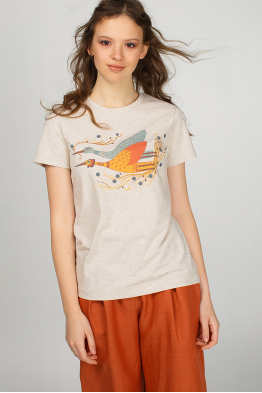 Beige woman t-shirt with sky storks