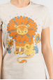 Beige women t-shirt with a Sunlion