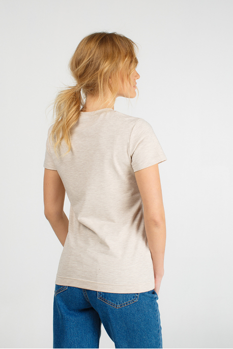 Beige T-shirt for women with a squirrel
