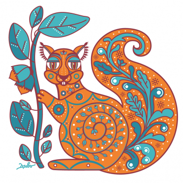 "Print ""The Squirrel and the Oak Leaf"""