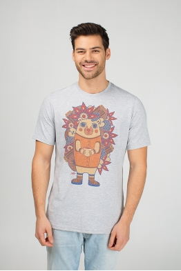 Grey men's t-shirt with hedgehog