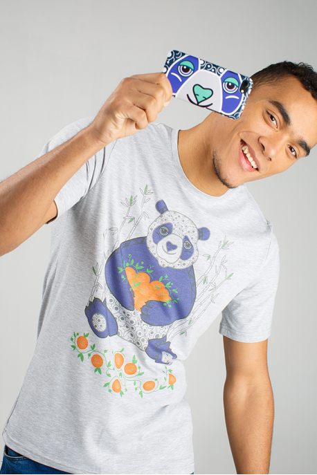 Grey men's t-shirt with panda illustration