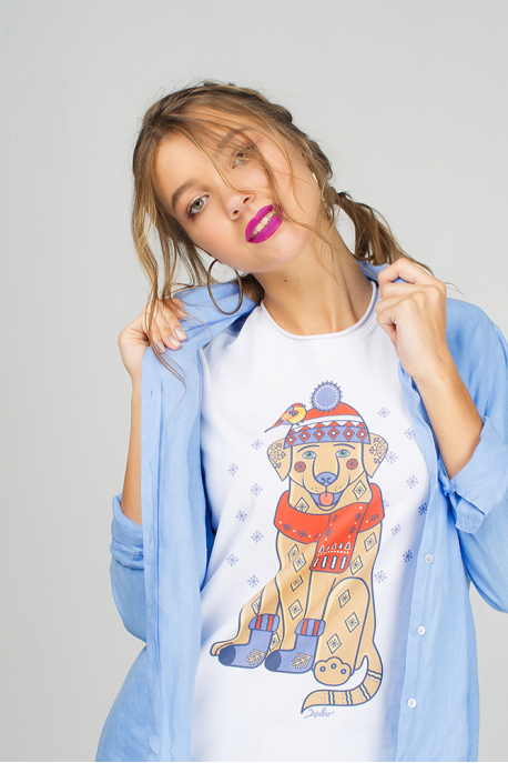 Women's T-Shirt with New Year Dog
