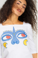 Women's T-shirt with eyes of monkey