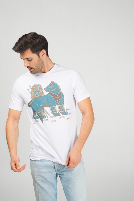 Men's t-shirt with illustration steel wolf