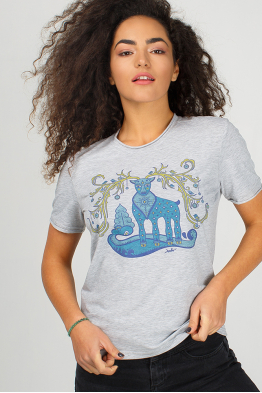 Grey cotton t-shirt with deer