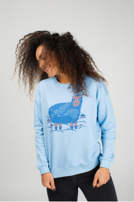 Pale blue sweatshirt with sheep print