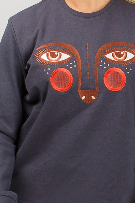 Dark grey women's sweatshirt with ermine eyes