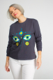 Dark grey sweatshirt with eyes of deer
