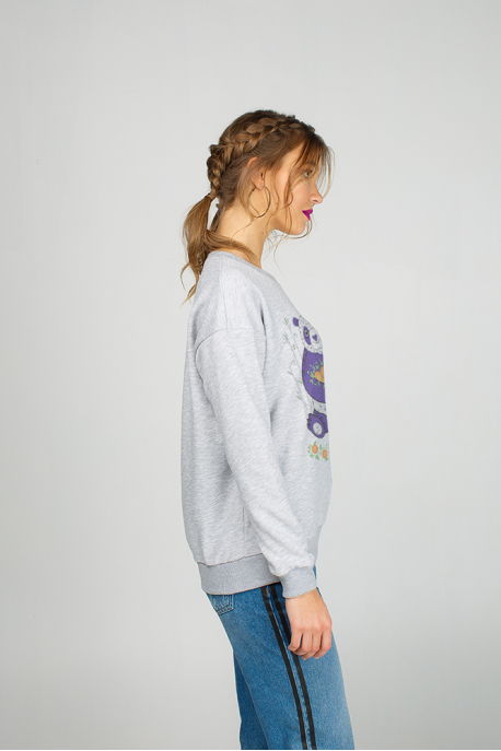 Grey Woman's Sweatshirt with Panda print