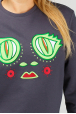 Dark grey women's sweatshirt with frog eyes