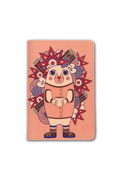 Eco-leather passport cover with hedgehog