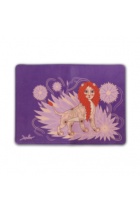 Eco-leather passport cover with lioness