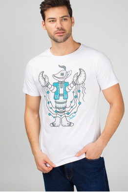 "Men's t-Shirt ""Horoscope crawfish - a brave cossack"""