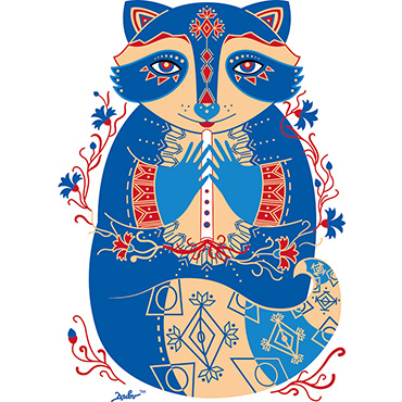 "Print ""Cornflower Raccoon"""