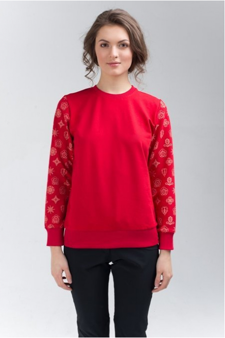 Women's sweatshirt with red pattern