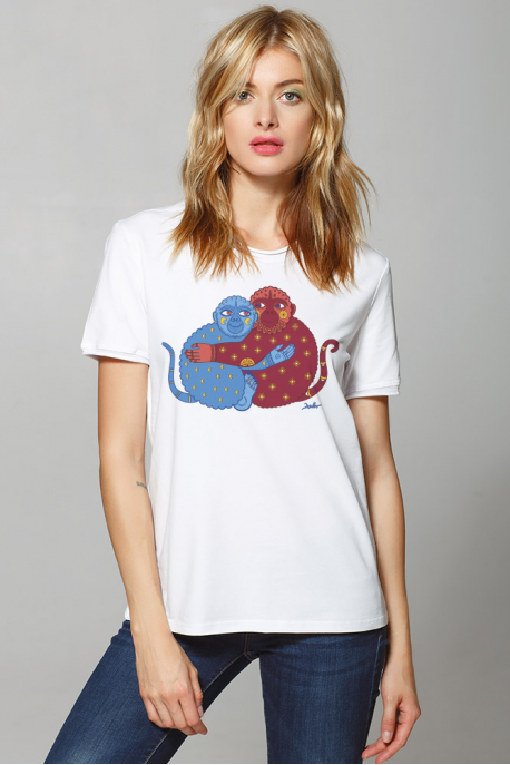 Women's t-shirt with lovely monkeys