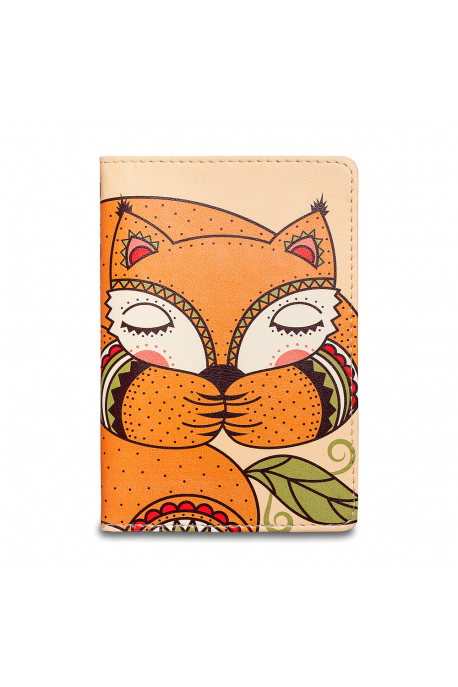 Eco-leather passport cover with sleeping foxy