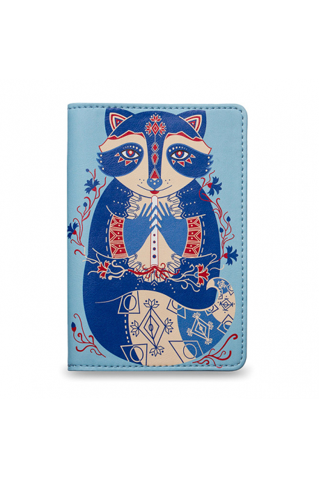 Eco-leather passport cover with raccoon